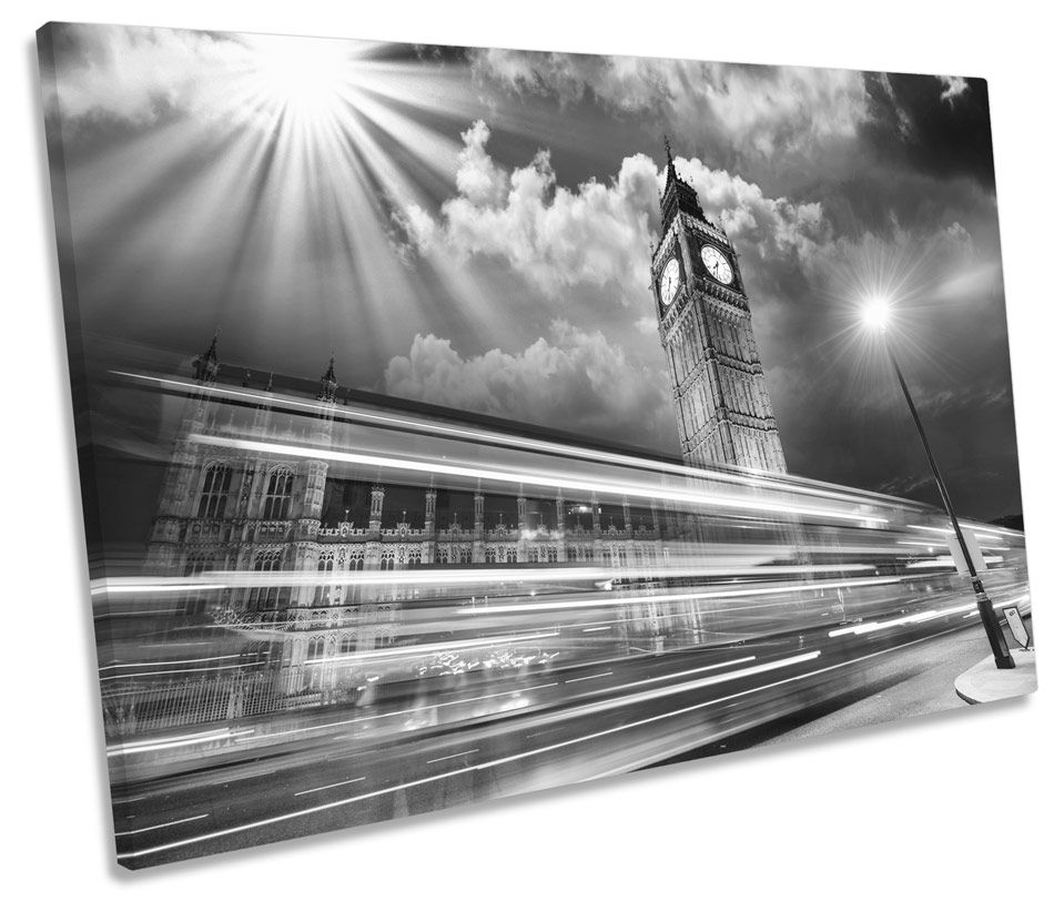 London Geometric Phonebox Big Ben City SINGLE CANVAS WALL ART Picture Print