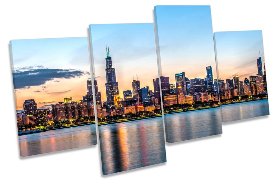 Chicago Skyline Cityscape MULTI CANVAS WALL ART Framed Panel