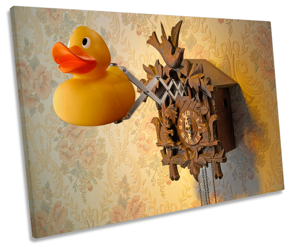 Rubber Duck Cuckoo Clock CANVAS WALL ART Picture Print Single | eBay