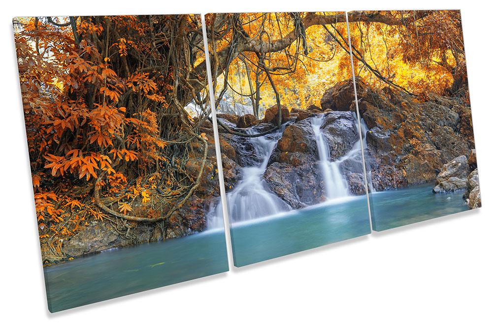 GIALLO cascata bosco ART. a a a Muro Immagine Stampa degli acuti a20268