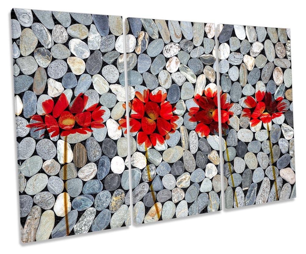 Bathroom Pebbles Red Flowers-TR32