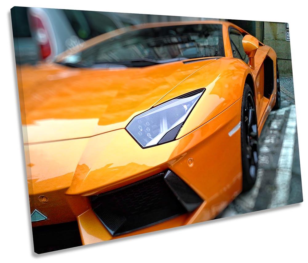 Orange Lamborghini Fast Car Framed SINGLE CANVAS PRINT Wall Art | eBay