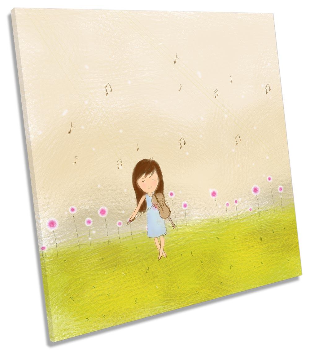 Girl Violin Music Notes Meadow-SG11