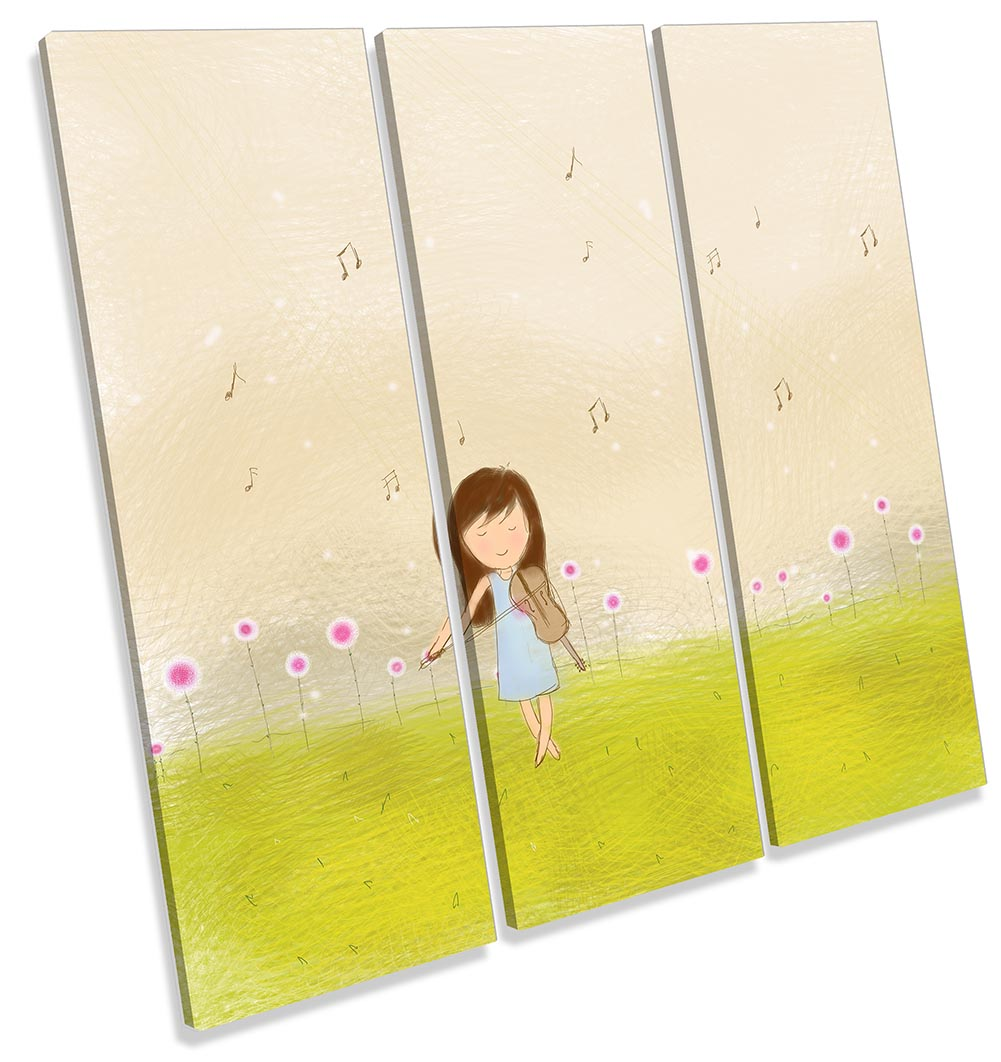 Girl Violin Music Notes Meadow-TR11