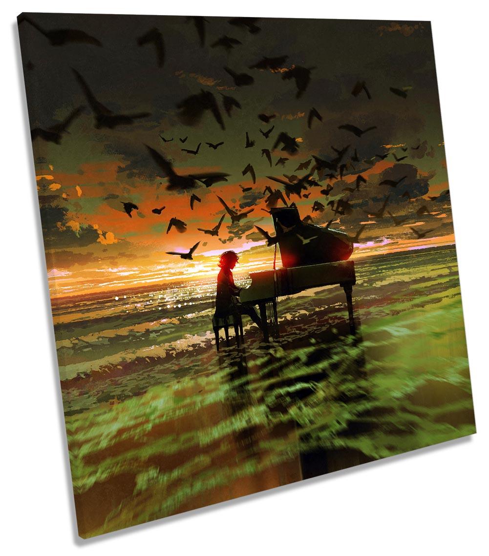 Music Piano Birds Sunset Beach-SG11