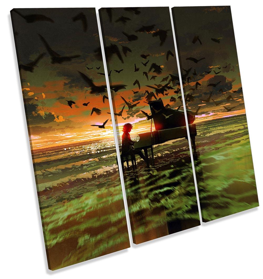 Music Piano Birds Sunset Beach-TR11