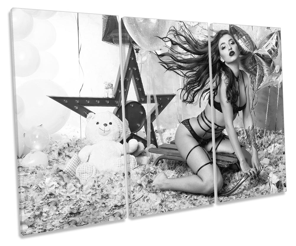 Details about Sexy Erotic Girl Party Beauty Framed TREBLE CANVAS PRINT Wall  Art