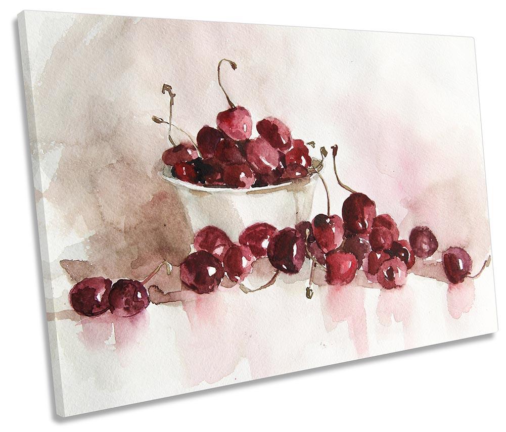 Red Cherries Kitchen SINGLE CANVAS WALL ARTWORK Print Art