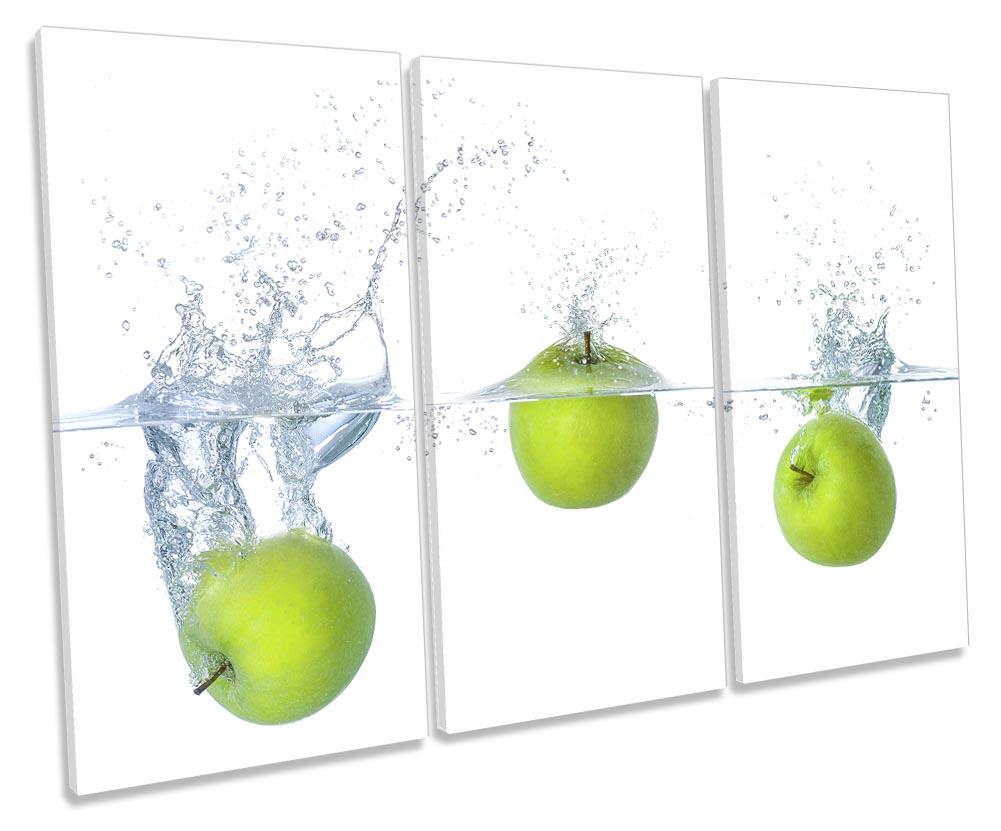Food Kitchen Apple Water Splash MULTI CANVAS WALL ART Picture Print VA