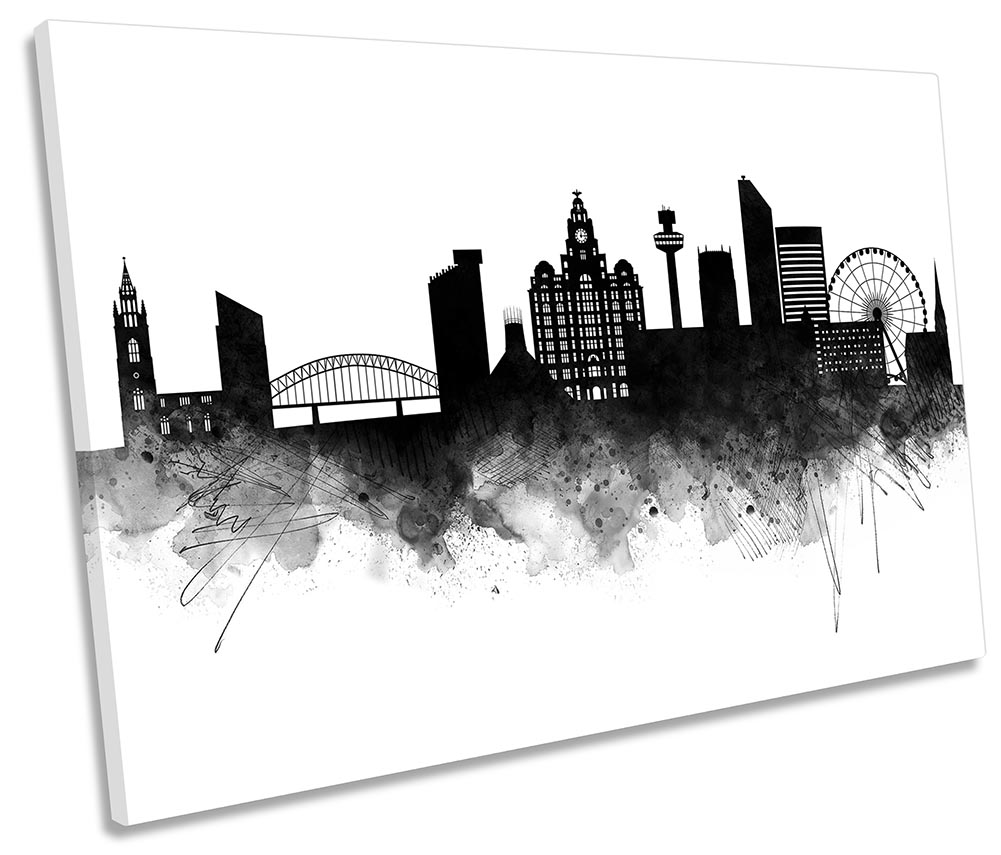 B/&W Liverpool Skyline Canvas Print Framed Panoramic Wall At Picture