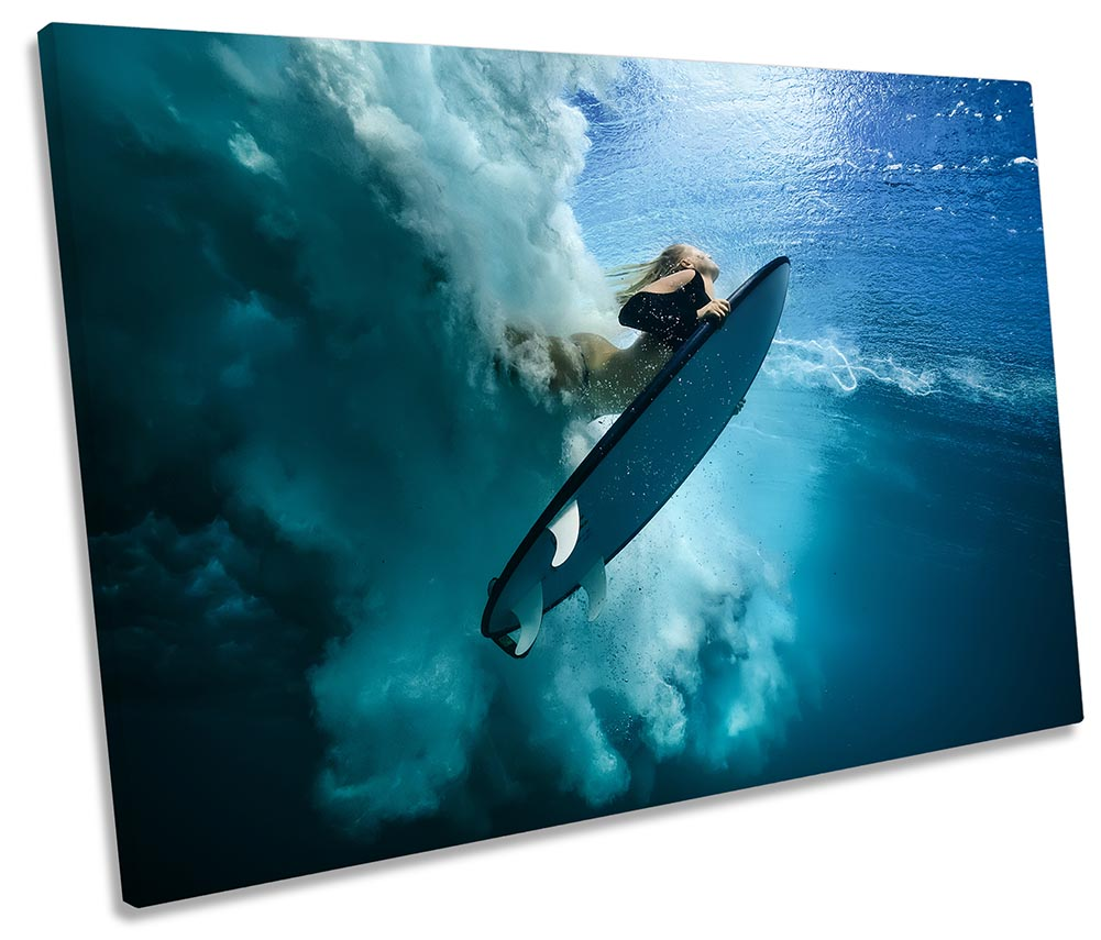 Surfer Barreled Surf Barrel Wall Art Canvas Picture Print Wave 3.2